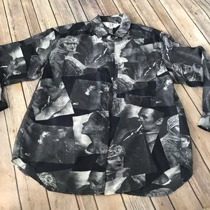 100% silk men's vintage print button up shirt M
